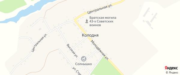 Южный переулок на карте деревни Колодни с номерами домов