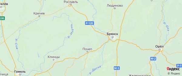 Карта Жирятинского района Брянской области с городами и населенными пунктами