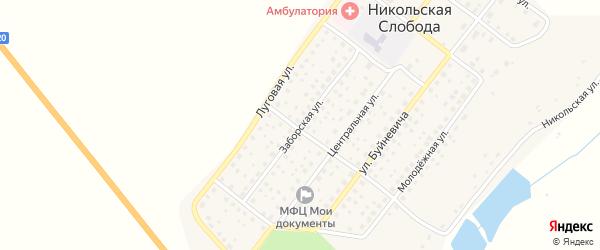 Заборская улица на карте деревни Никольской Слободы с номерами домов
