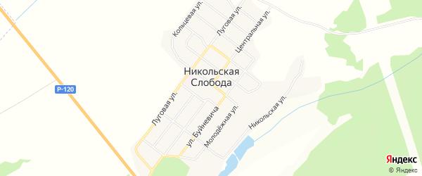 Карта деревни Никольской Слободы в Брянской области с улицами и номерами домов