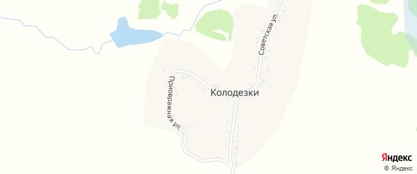 Приовражная улица на карте деревни Колодезки с номерами домов