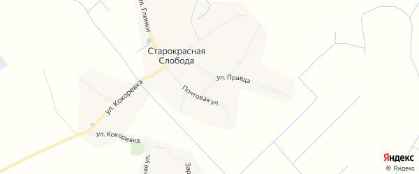 Карта деревни Старокрасной Слободы в Брянской области с улицами и номерами домов