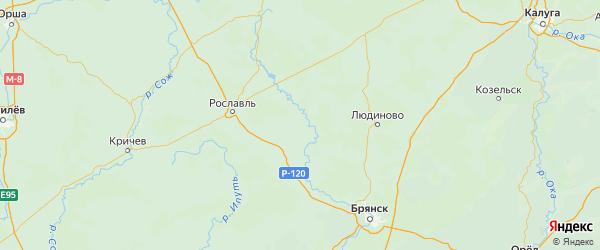 Карта Рогнединского района Брянской области с городами и населенными пунктами