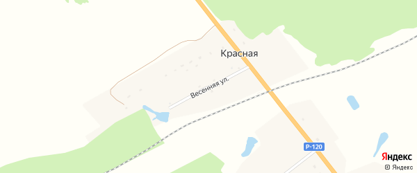 Весенняя улица на карте поселка Красной с номерами домов