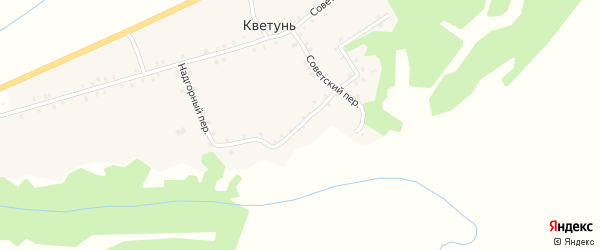 Надгорный переулок на карте деревни Кветуни с номерами домов
