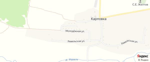 Молодежная улица на карте села Карповки с номерами домов