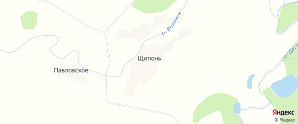 Карта деревни Щипонь в Брянской области с улицами и номерами домов