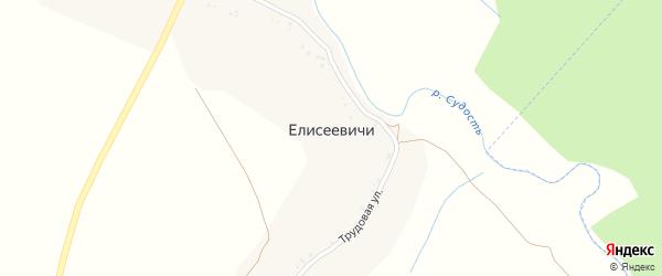 Трудовая улица на карте деревни Елисеевичи с номерами домов