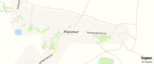Романовская улица на карте деревни Маковья с номерами домов