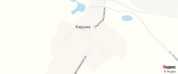 Партизанская улица на карте деревни Каружи с номерами домов