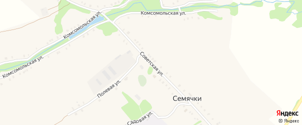 Советская улица на карте села Семячки с номерами домов