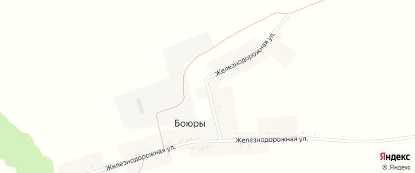 Железнодорожная улица на карте поселка Боюры с номерами домов