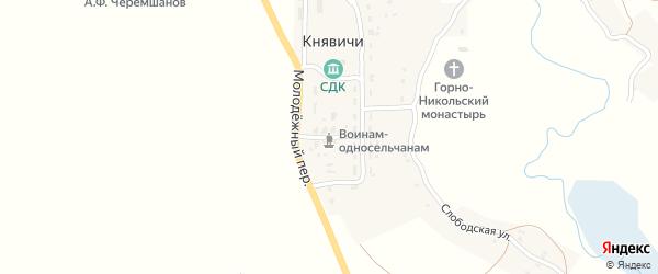 Молодежный переулок на карте села Княвичей с номерами домов