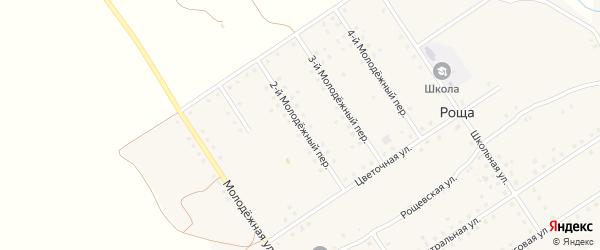 2-й Молодежный переулок на карте поселка Рощи с номерами домов