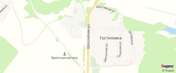 Шоссейная улица на карте поселка Гостиловки с номерами домов