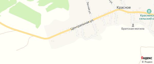 Садовый переулок на карте деревни Красного с номерами домов