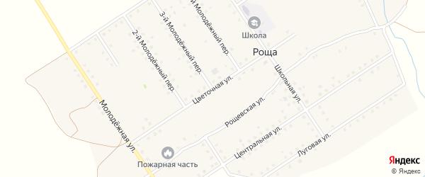 Цветочная улица на карте поселка Рощи с номерами домов