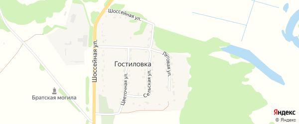 Сельская улица на карте поселка Гостиловки с номерами домов