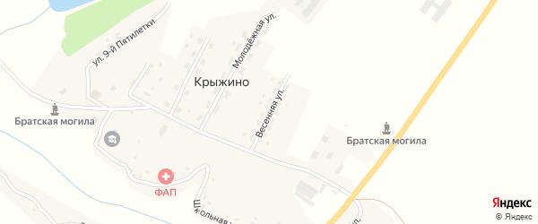Весенняя улица на карте села Крыжино с номерами домов