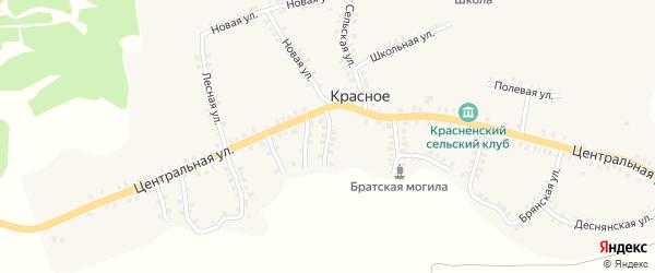 Луговая улица на карте деревни Красного с номерами домов