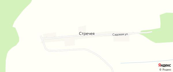 Садовая улица на карте деревни Стречеи с номерами домов