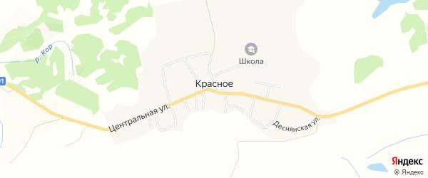 Карта деревни Красного в Брянской области с улицами и номерами домов