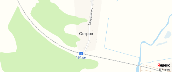 Заречная улица на карте деревни Острова с номерами домов