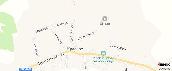 Школьная улица на карте деревни Красного с номерами домов