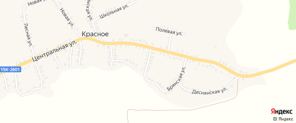 Комсомольская улица на карте деревни Красного с номерами домов