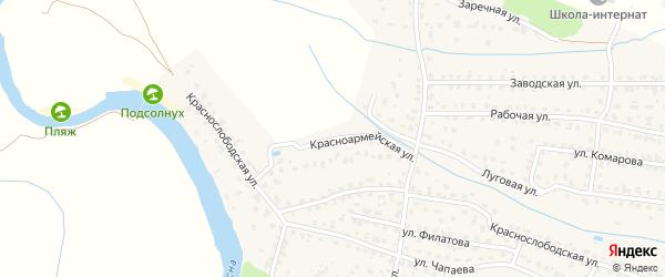 Красноармейская улица на карте Жуковки с номерами домов