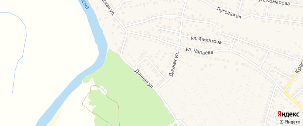 Дачная улица на карте Жуковки с номерами домов