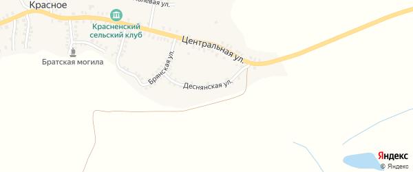 Деснянская улица на карте деревни Красного с номерами домов