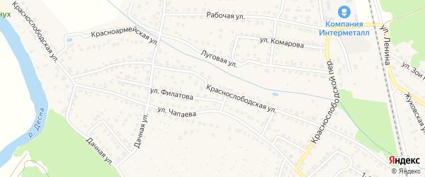 Краснослободская улица на карте Жуковки с номерами домов
