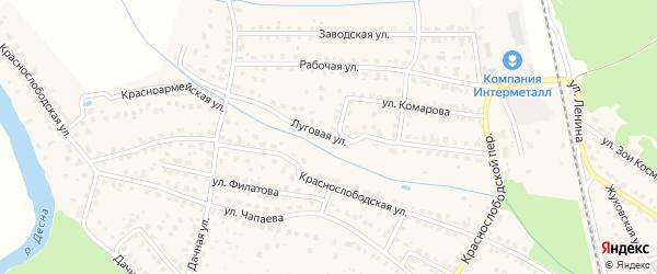 Луговая улица на карте Жуковки с номерами домов