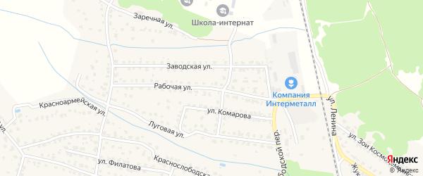 Рабочая улица на карте Жуковки с номерами домов