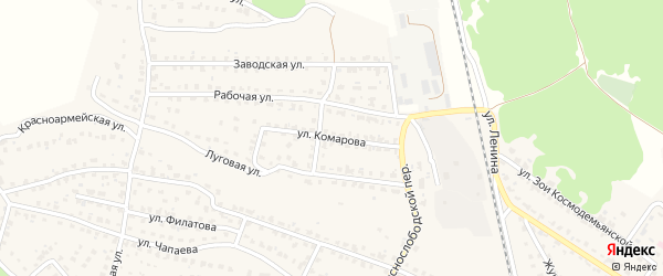 Улица Комарова на карте Жуковки с номерами домов