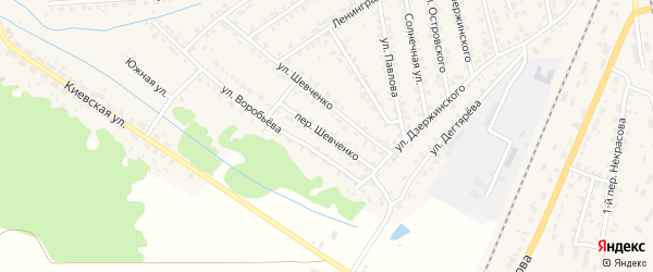 Переулок Шевченко на карте Жуковки с номерами домов