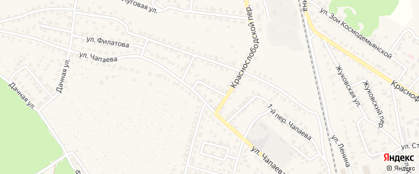Переулок 2-й Чапаева на карте Жуковки с номерами домов