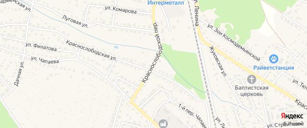 Краснослободской переулок на карте Жуковки с номерами домов