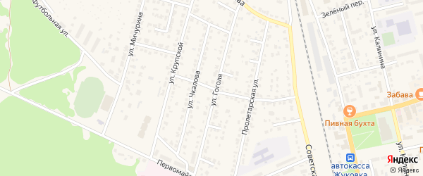 Пролетарский переулок на карте Жуковки с номерами домов