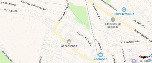 Переулок 1-й Чапаева на карте Жуковки с номерами домов