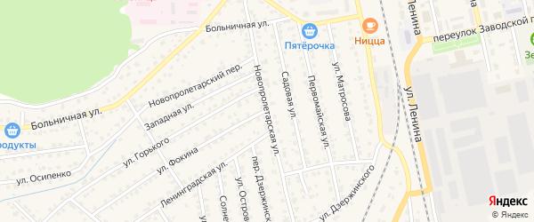 Новопролетарская улица на карте Жуковки с номерами домов
