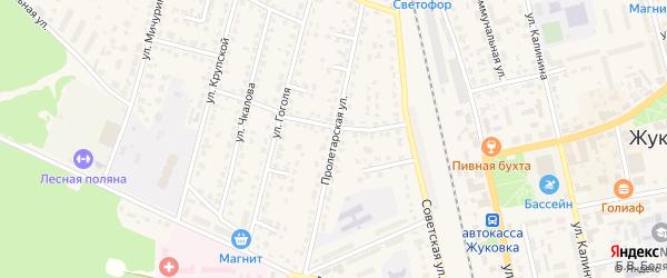 Пролетарская улица на карте Жуковки с номерами домов