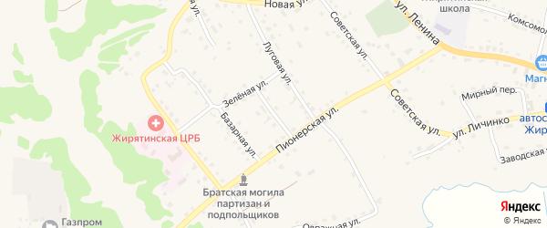 Зеленый переулок на карте села Жирятино с номерами домов