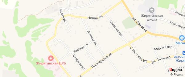 Луговая улица на карте села Жирятино с номерами домов