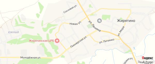Карта села Жирятино в Брянской области с улицами и номерами домов