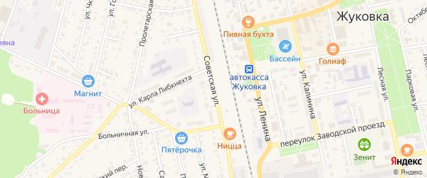 Советская улица на карте Жуковки с номерами домов