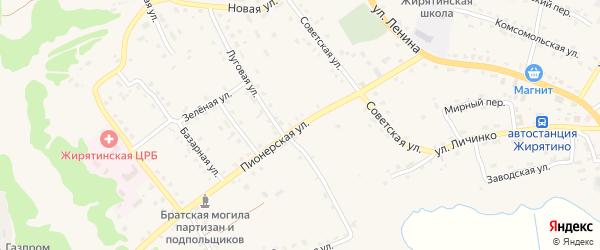 Пионерская улица на карте села Жирятино с номерами домов