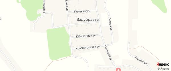 Юбилейная улица на карте деревни Задубравья с номерами домов