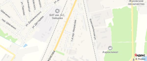 Переулок 1-й Некрасова на карте Жуковки с номерами домов